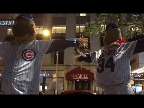 Chicago celebrating Cubs pennant win