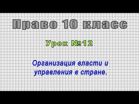 Право 10 класс (Урок№12 - Организация власти и управления в стране.)