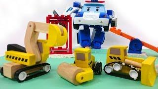 Робокар Поли помогает рабочим машинам на детской площадке. Видео для детей.
