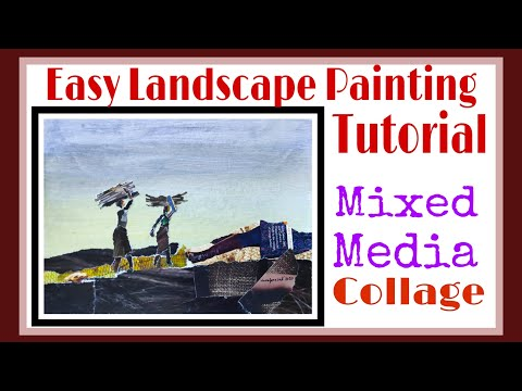 Easy landscape Painting Tutorial for Beginners / Mixed Media Collage / Acrylic + Collage