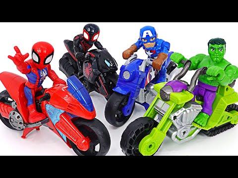 마블 어벤져스 헐크 스패쉬 탱크와 스파이더맨 스윙잉 스피더 오토바이! 달려라!   두두팝토이