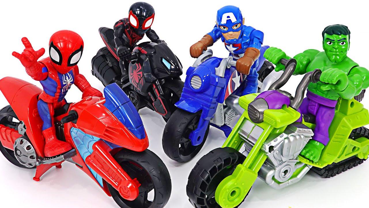 마블 어벤져스 헐크 스패쉬 탱크와 스파이더맨 스윙잉 스피더 오토바이! 달려라! | 두두팝토이