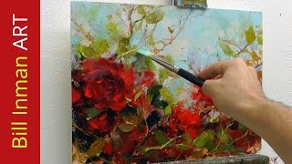 Learn to Paint Crimson Roses Oil Painting Demo Fast Motion