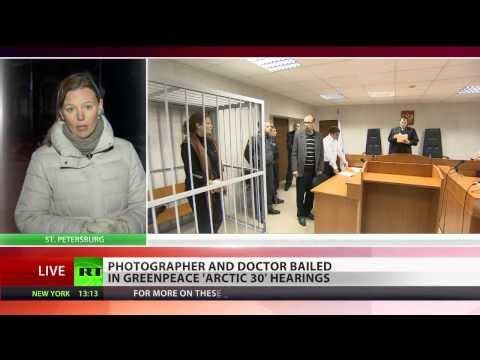 Two Greenpeace crew members bailed in 'Arctic 30' protest hearings