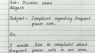 Complaint letter to sdo about power cuts in english    Letter writing