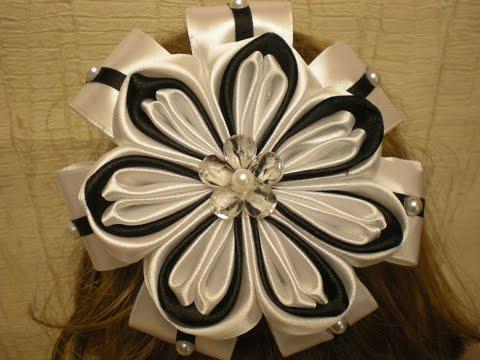 Красивый Бант в ШКОЛУ Своими Руками. КАНЗАШИ /DIY /KANZASHI / Make Hair Bow /Tutorial / Flower./