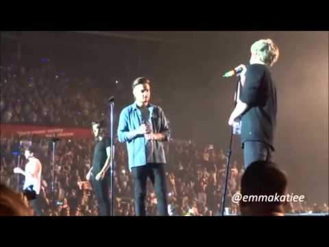 ONE DIRECTION OTRA SHEFFIELD 311015  THANK YOUS AND HUGS  CHASING CARS