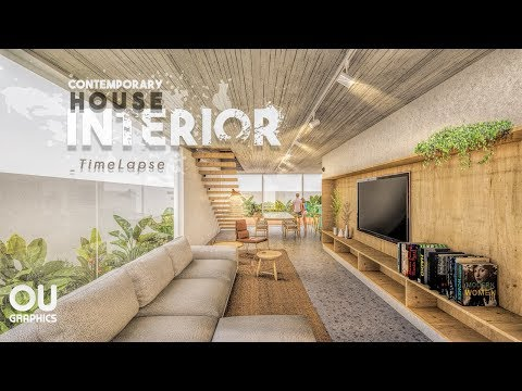 Contemporary Interior House Time-lapse In Photoshop