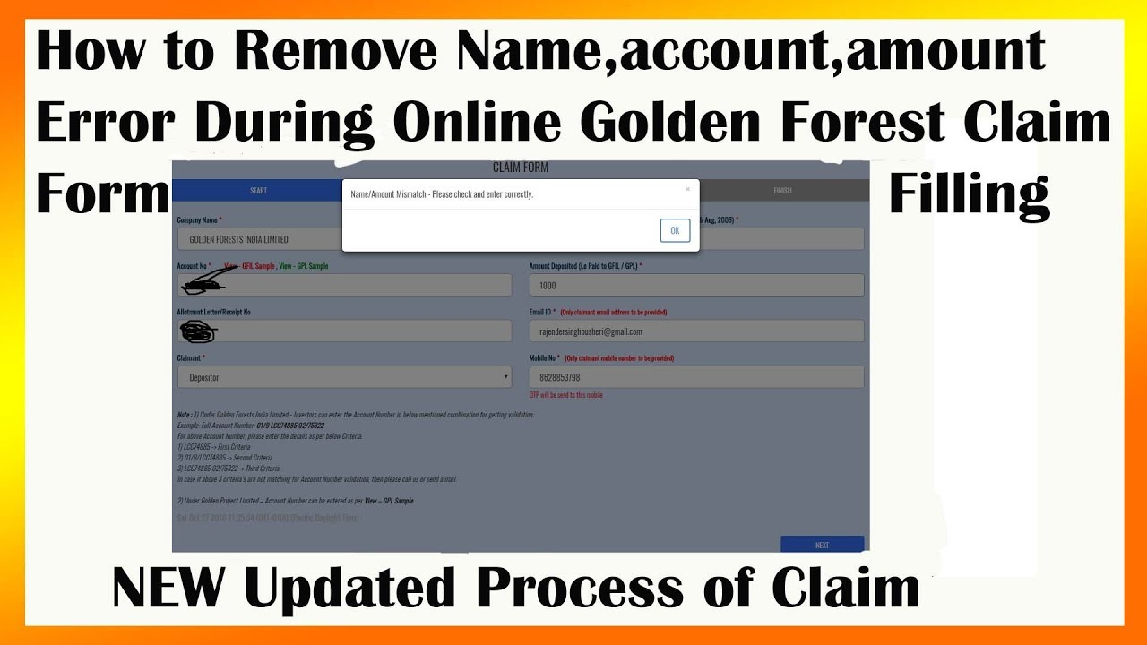 How to Remove Name/account mismatch error during Golden forest online claim  form filling