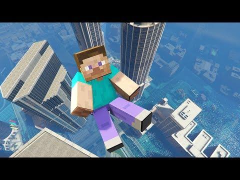 Steve Minecraft GTA 5 Parkour Fails and Ragdolls Flooded Los Santos ep.33