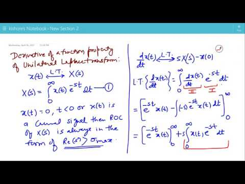 Derivative of a function Property of Unilateral Laplace Transform