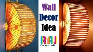 Ice cream stick Wall decor idea || ice cream stick lamp || popsicle stick  wall hanging idea