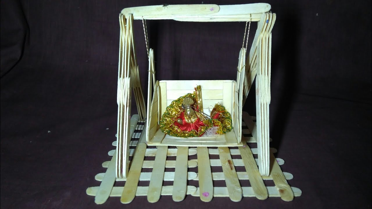 How to make popsicle stick swing bal gopal swing jhula for How to make jhula at home