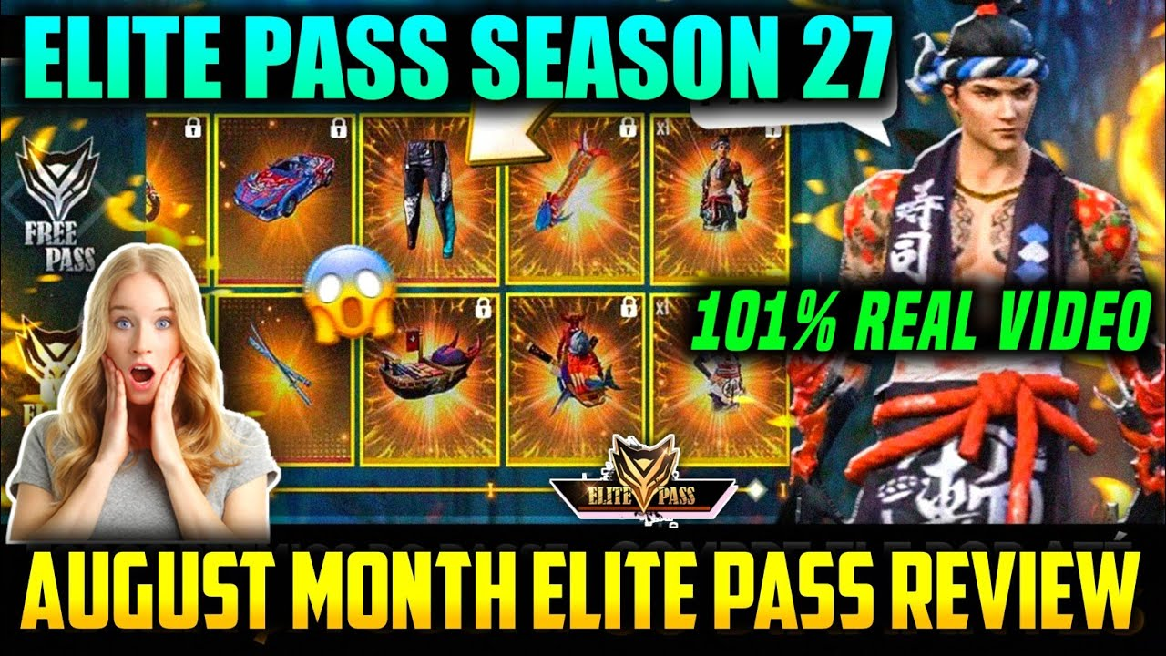 ELITE PASS SEASON 27 IN GARENA FREE FIRE || AUGUST MONTH ELITE PASS FULL REVIEW - ULTIMATE VERSION