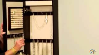 Wall Mounted Wooden Jewelry Armoire and Mirror with LED Lighting - Espresso - Product Review Video