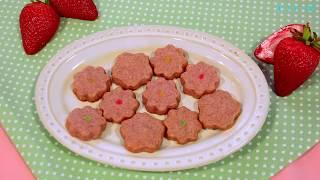 【スイーツレシピ】 お花の苺クッキー Strawberry cookie shaped like a flower