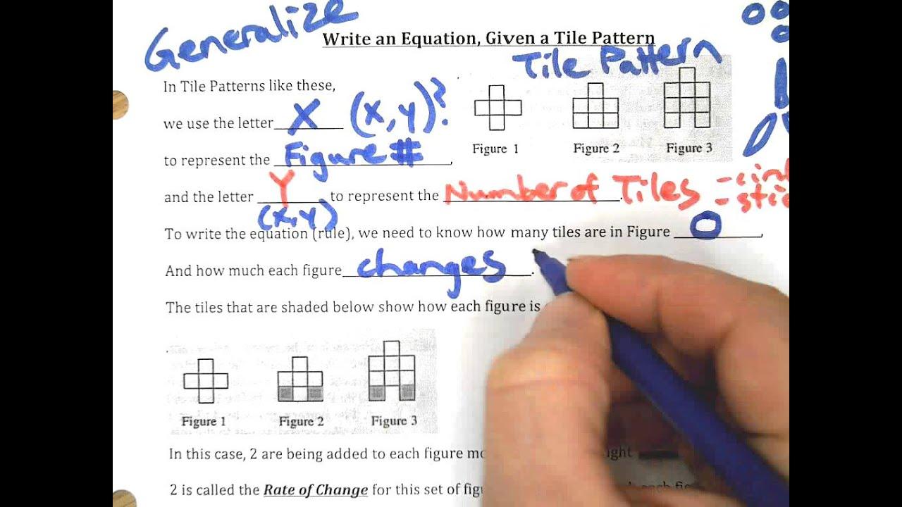 Tile Patterns And Sentence Frames For Y=mx+b