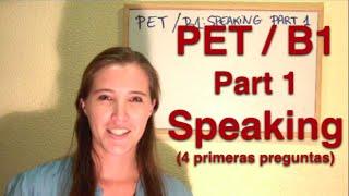 INGLÉS. PET / B1. Speaking. Part 1 (I). Inglés para hablantes de español.