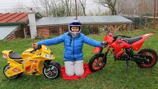 Funny Baby New Sportbike Broke Down. Ride on New Dirt Cross Bike Power Wheel
