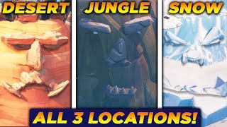 Fortnite - All Giant Faces Map Locations(Desert, Jungle and Snow) | Season 8 Week 1 Challenges
