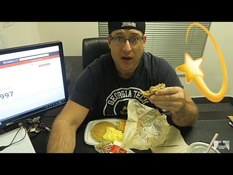 McDonalds Breakfast Mukbang #25 / Sausage McGriddles, Hashbrowns, Pancakes, Eggs, Biscuit / Elevate