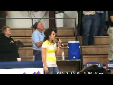 Jara Mumma singing the National Anthem At Rich Hill High School Basketball
