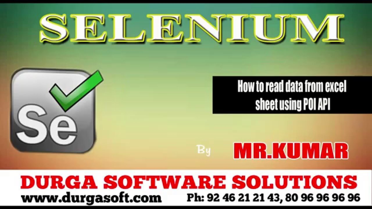 Selenium How to read data from excel sheet using POI API - YouTube