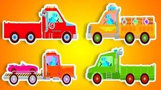 Мультик игра - все новые серии про разноцветные грузовики. История про динозавра и грузовые машины