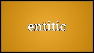 Entitic Meaning