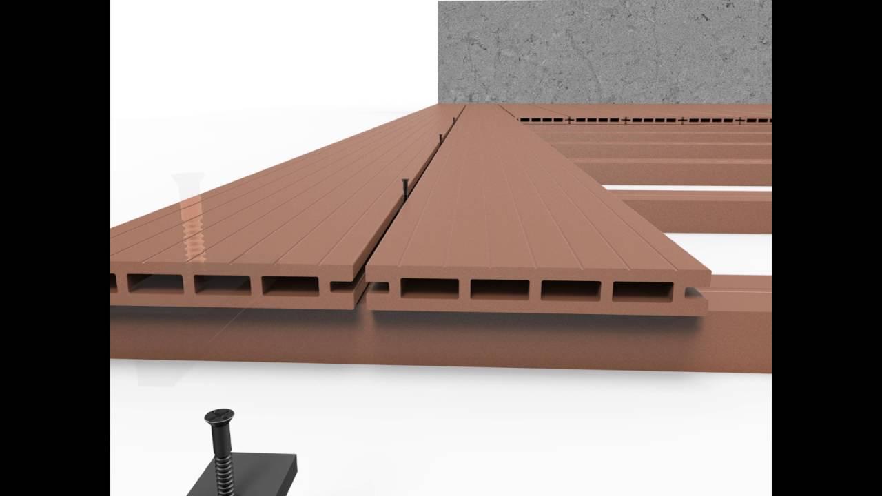 extrubois montage d 39 une terrasse en bois composite 2016 youtube. Black Bedroom Furniture Sets. Home Design Ideas