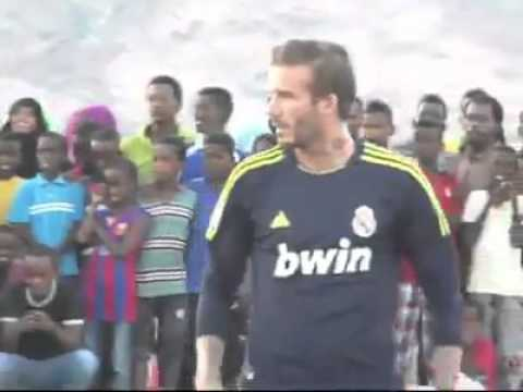 David Beckham plays football with Somali's children in Djibouti