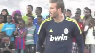 David Beckham plays football with Somali's children in Djibouti