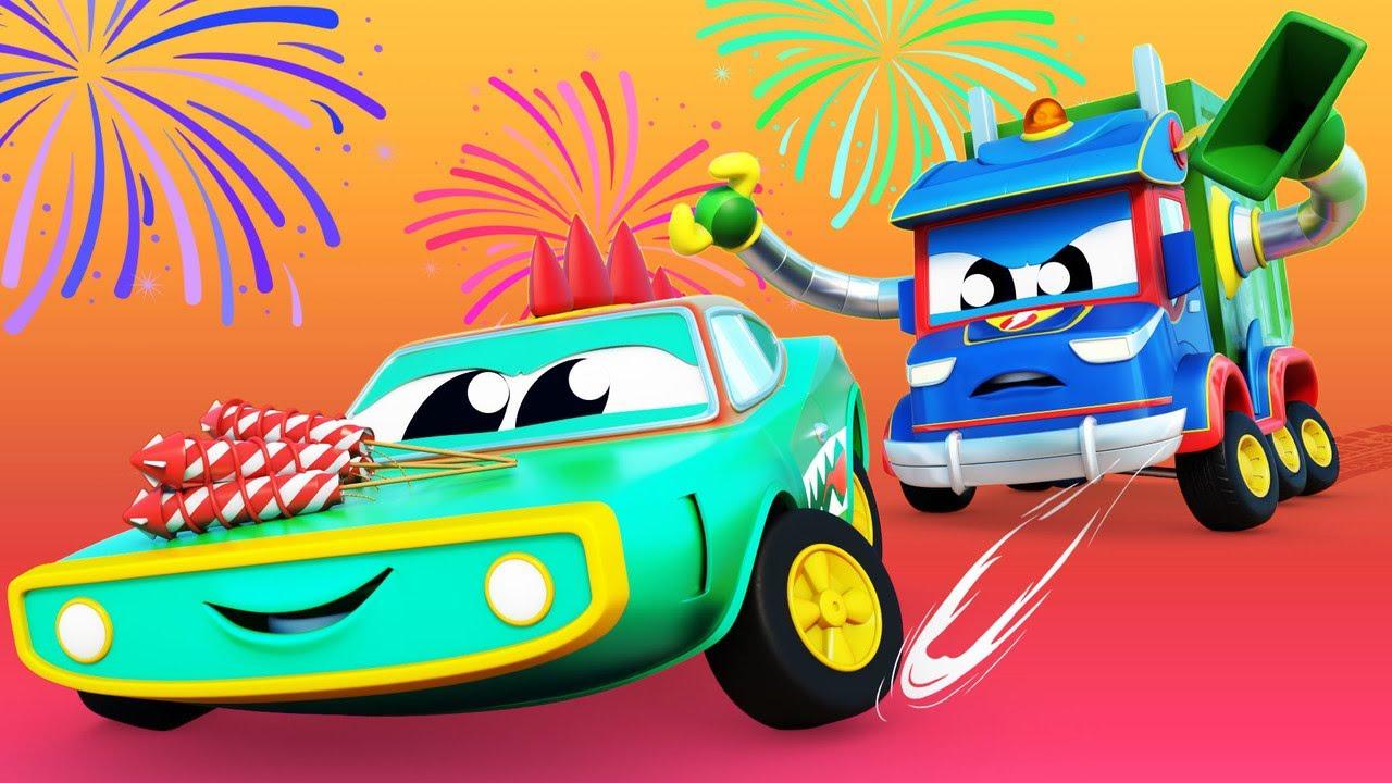 Crocodilul fura artificiile de Anul Nou Orasul masinilor - desene pentru copii