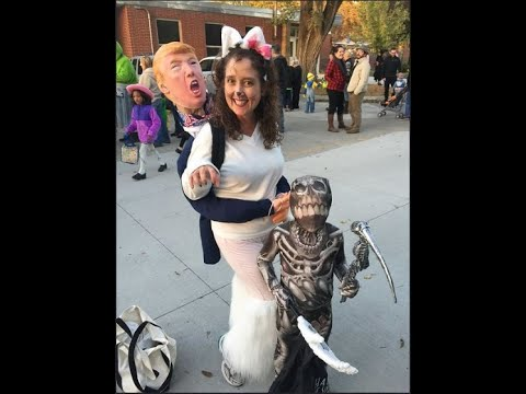 Ahart's wife wearing Cat/Trump costume at District-sponsored event