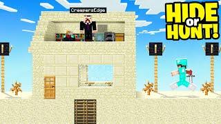 i made a SECRET Minecraft Base in Villagers house.. (Hide Or Hunt #1)