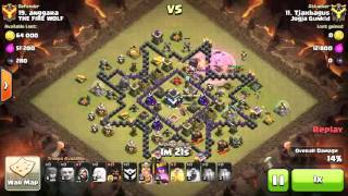 3 star in war TH 9 clash of clans kombinasi giant hog healer wizard