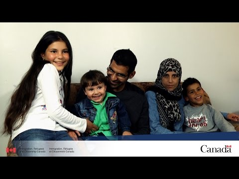 Refugee family learning French and starting a new life in Quebec