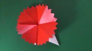 簡単きれいなカーネーションの折り紙の折り方です。花の部分ははさみで...