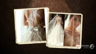 Трапециевидное свадебное платье, с глубоким круглым вырезом. На спине молния
