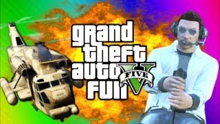 GTA 5 Online Funny Moments Gameplay 6 - Airfield Trolling, Cargobob, Car Heist (Multiplayer)