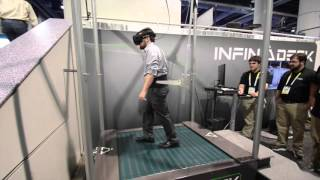 Infinadeck Omnidirectional Treadmill Hands on at CES 2016