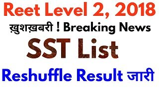 Reet Level 2 SST Reshuffle Result Cut off 2018 | रीट लेवल 2 Social Science रिसफल परिणाम जारी