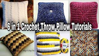 Crochet Throw Pillow | 6 in 1 Crochet Pillow Tutorials | Bag O Day Crochet