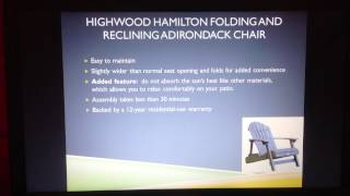 Highwood Hamilton Folding And Reclining Adirondack Chair Review
