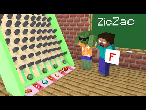 Monster School : Ziczac Game  Funny Minecraft Animation