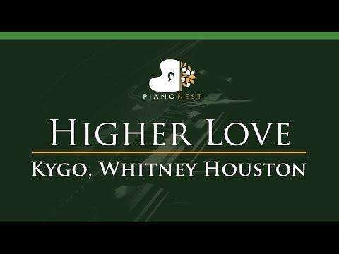 Kygo, Whitney Houston - Higher Love - LOWER Key (Piano Karaoke / Sing Along)