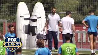 Cristiano Ronaldo limps off training field days before final
