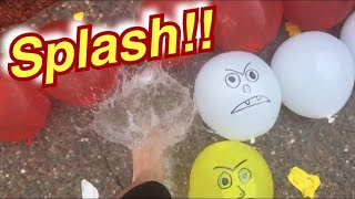Popping some red, yellow, and White water balloons