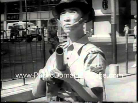 1967 Hong Kong riots protesting British rule Newsreel   www.PublicDomainFootage.com