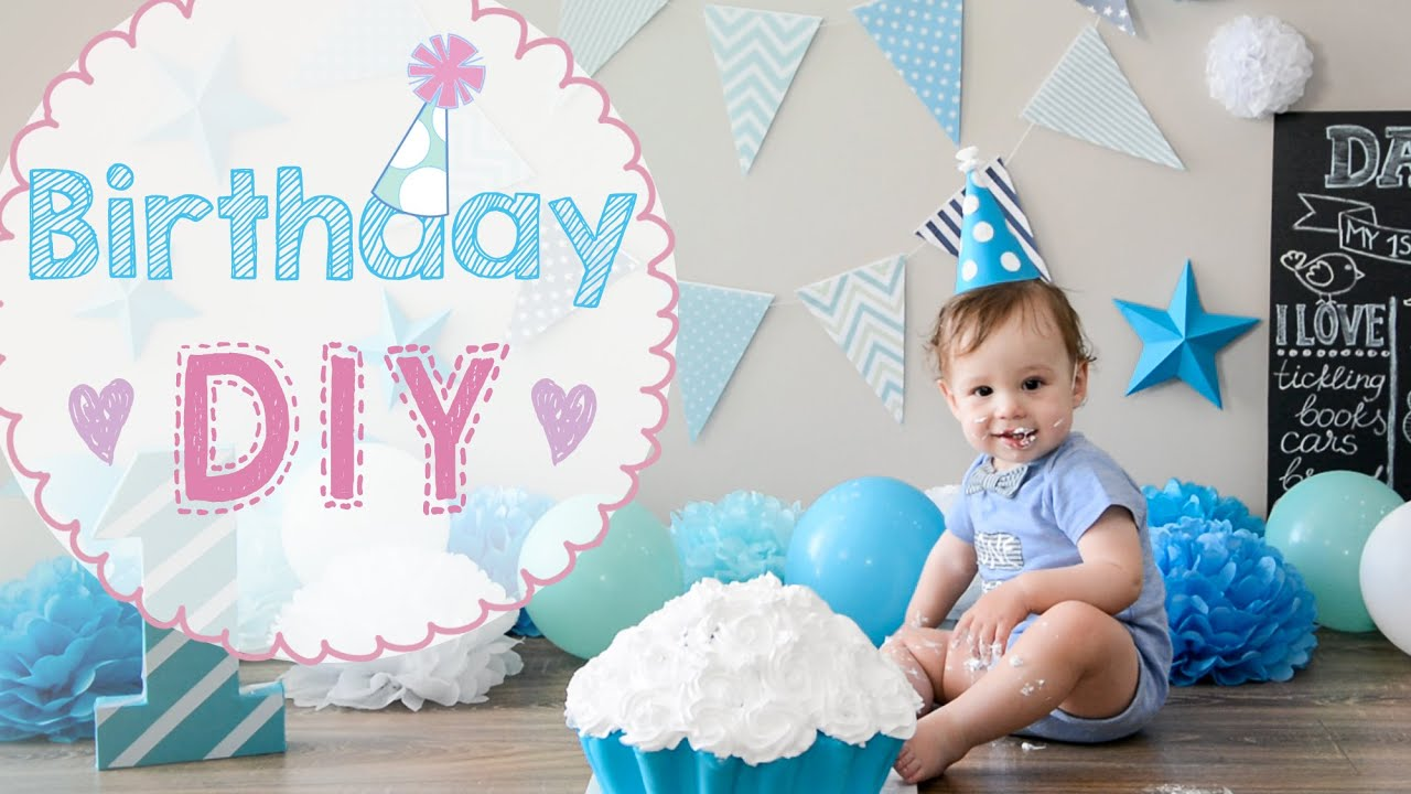 Baby birthday 1 year party diy cake crash how to make for Baby birthday decoration images